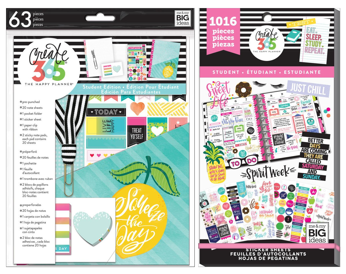 Classic Happy Planner Student 2017 Accessories - All The Things Student Pack and Student Sweet Life Sticker Value Pack - 2 Item MAMBI Bundle