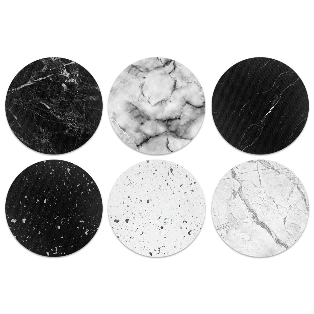 CARIBOU Coasters Black White Marble Design Absorbent Neoprene Coasters for Drinks, 6pcs Set