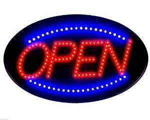"""2017 Latest Jumbo 24"""" x 13"""" LED Neon Sign with Motion - """"OPEN"""" (Blue/Red) B30"""