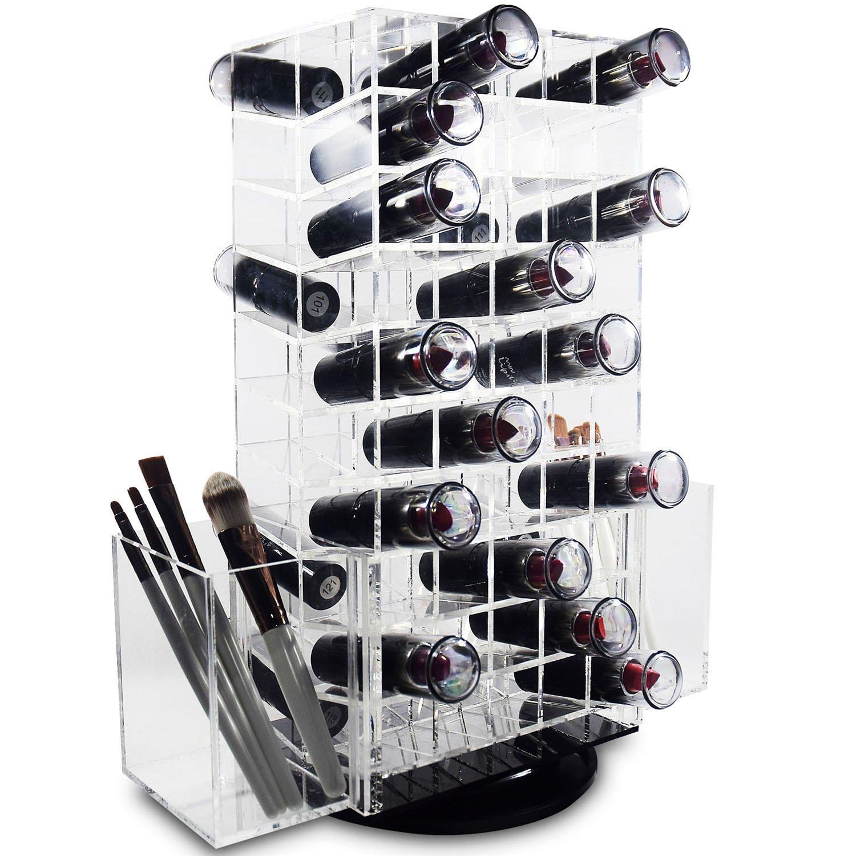 Get Quotations · Ikee Design Spinning Acrylic Makeup Organizer | Spinning  Lipstick Tower Rotating Brush Holder Premium Acrylic Makeup