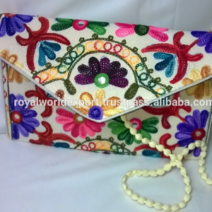 99bdbdcd01 Hot Latest Design Handmade Lather With Hand Crafted Suzni Embroidery  Traditional Indian Cotton Clutch Bags Manufacturer