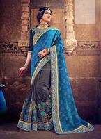 Blue Paper Silk Art Chiffon Saree/ Bridal Sarees Online Shopping/ Buy Bridal Sarees Online