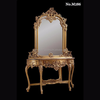 Italian Louis Xv Carved Gilded Console Mirror 18th And 19th Century Table Neoclical Baroque