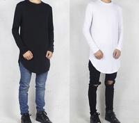 Elongated T Shirts - French Terry Wholesale Athletic Wear t shirts/Performance Stylish Elongated French terry T Shirts/100%