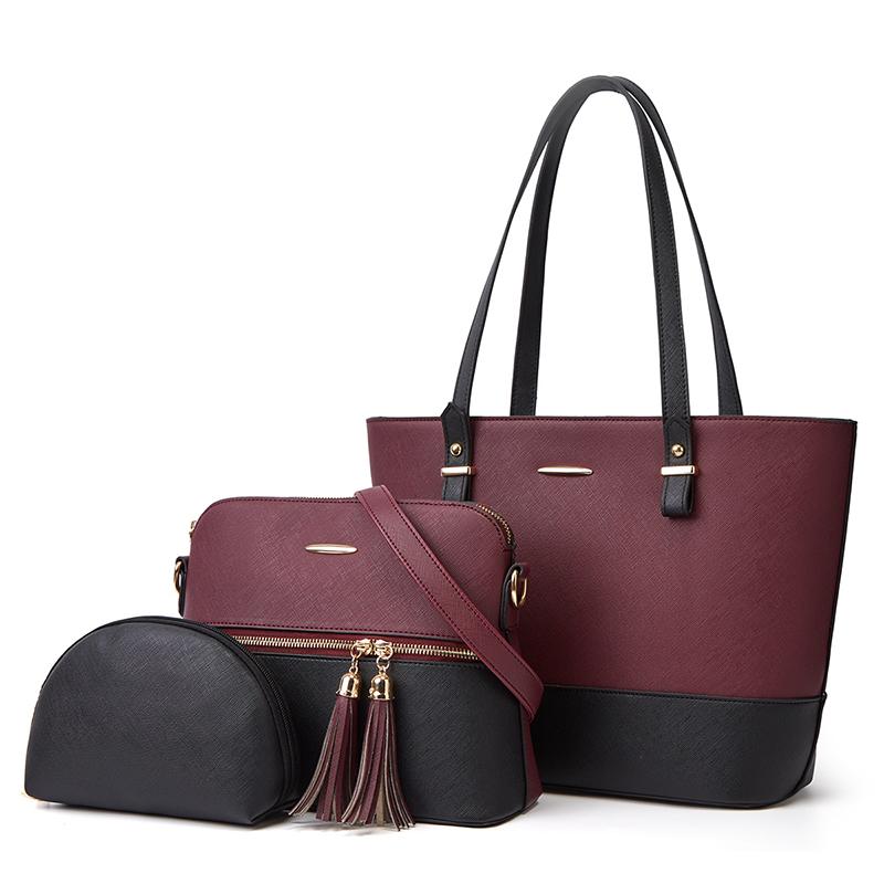 Artificial Pu Leather Tassel Sling Crossbody Purse 3 PCS Handbags Set Tote Ladies Clutch Bags