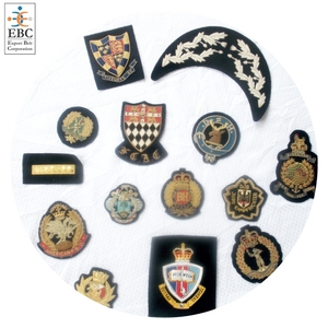 High quality hand embroidery Silver bullion badges, crest | handmade custom bullion badges for garments