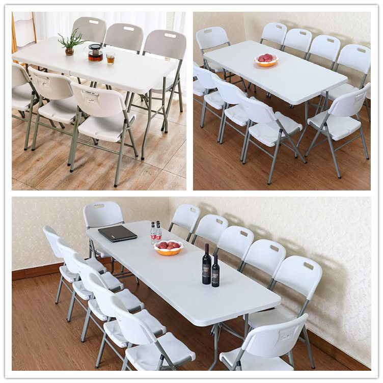 Wholesale cheap rental hotel restaurant dining catering white HDPE 6ft round retangular plastic folding table for wedding event