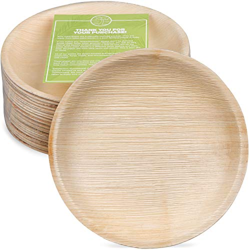 25pcs Disposable 30cm Round Palm Leaf Plates Catering Eco Natural Dinner Party