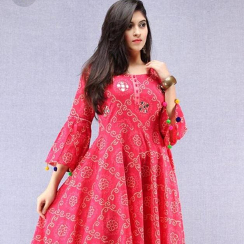 new arrival peach color long umbrella rayon fabric with mirror work kurti