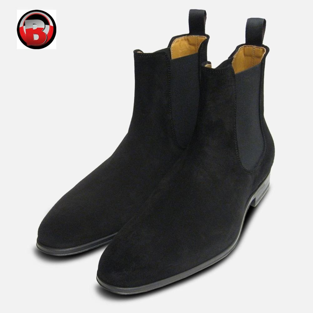 exclusive deals low price best place Black Suede Chelsea Boots Men,Hand Made Customized Designer Winter ...