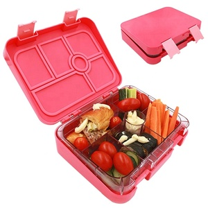 6 compartment silicon foldable bento lunch box for kids bento