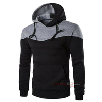 Best Quality Slim Fit Gym Patchwork Hoodie Custom Your Own Logo On Pullover Hoodie Wholesale Mens Clothing