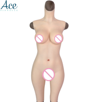 Free shipping D Cup Solid Silicone High Collar Vagina Breast Forms Full body Suit Crossdressers full body silicone body suit