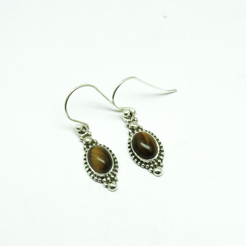 Pale Beauty Brown Tiger Eye 925 Sterling Silver Earring, Indian Silver Jewellery Online, Discounted Silver Jewellery