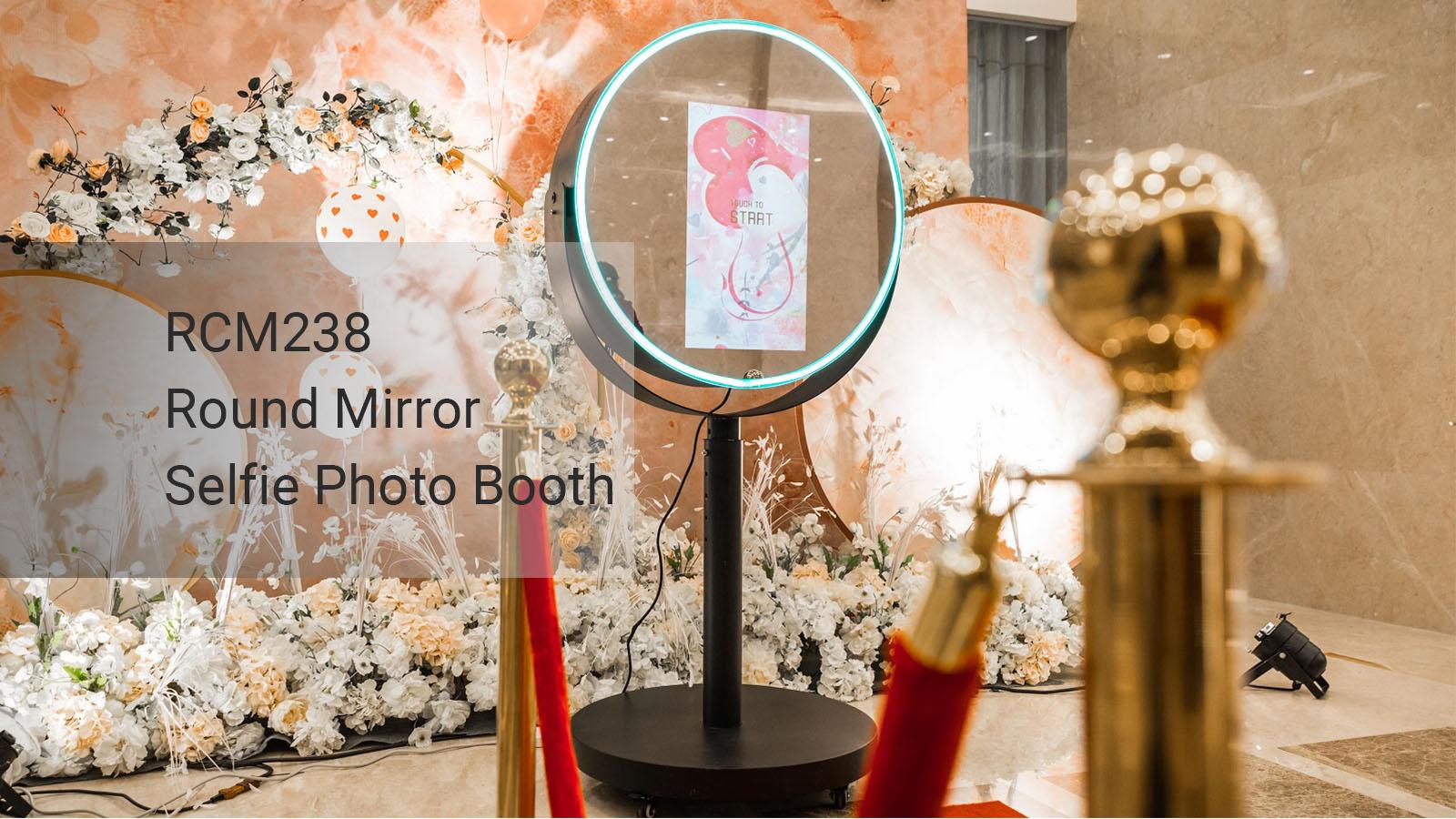 Round Photobooth Mirror Machine Wedding Selfie Magic Photo Mirror Booth for sale