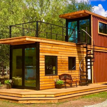 Build a log cabin 2 floors wooden decorate style prefabricated house and home with terrace and stair