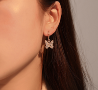 crystal butterfly earrings korean butterfly drop earrings butterfly charm earring
