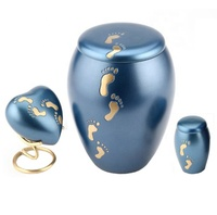American Blue foot print engraved cremation brass urn with haret & token keepsake
