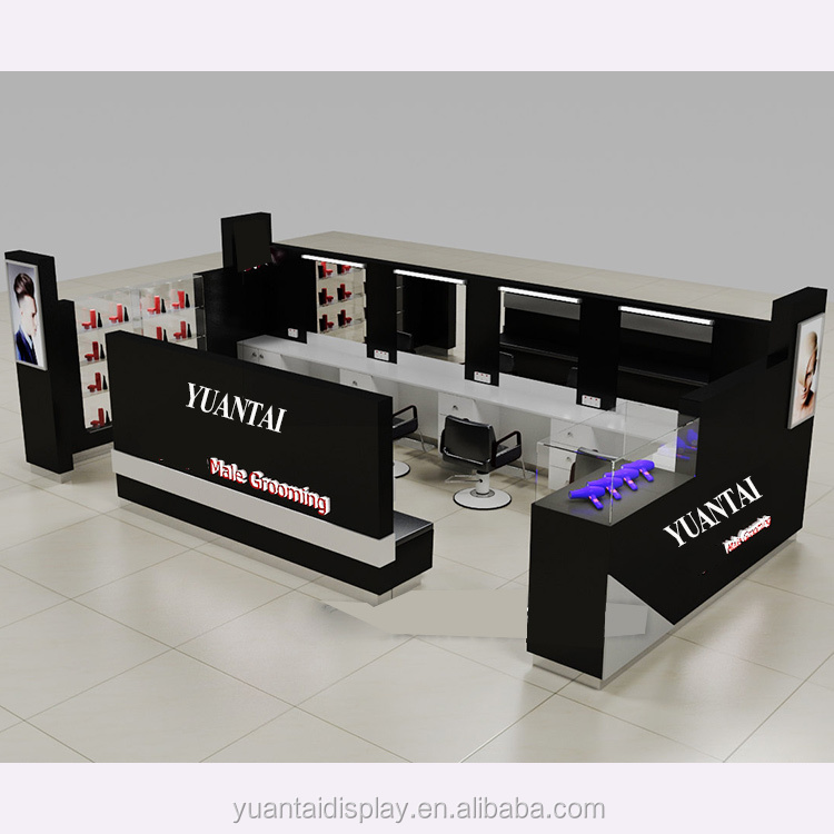 Skincare shop fitting and display showcase, makeup kiosk decorative furniture counter design