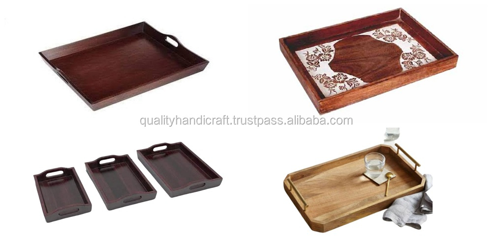Wholesale Diy Epoxy Resin River & Mango Wood Serving Tray With Metal Handle Hotels & Restaurant Kitchenware Coffee Table Tray