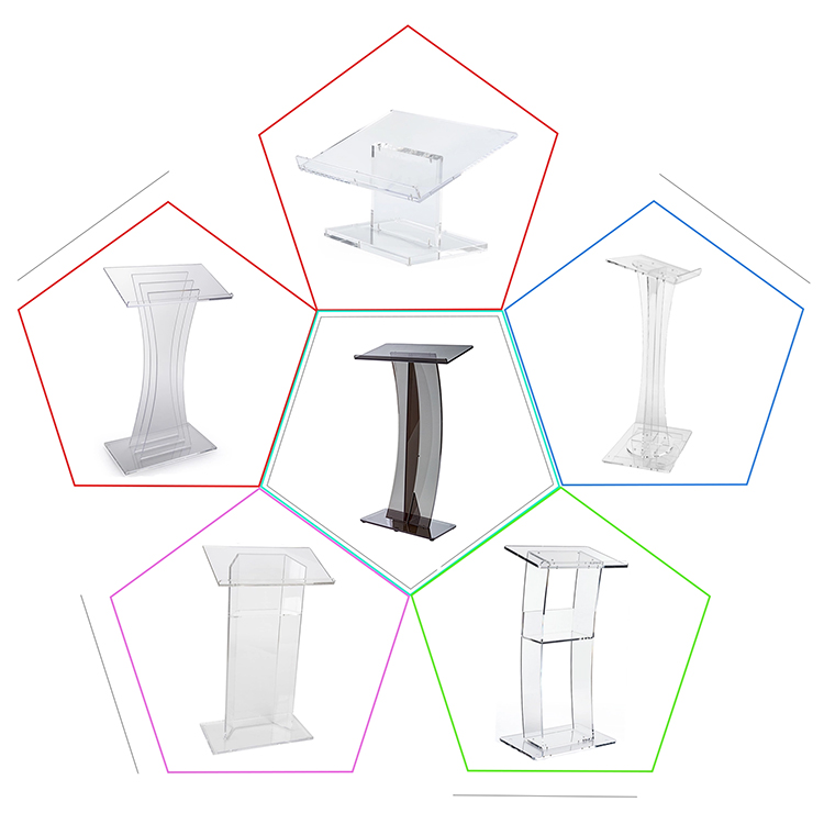 VONVIK China Pulpit Lectern Wholesale Acrylic Podium Lectern Church Pulpit With Angled Reading Surface