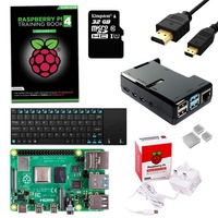 Raspberry Pi 4 Starter Kit with Training Book, Wireless Keyboard, Raspberry Pi 4, ABS Case, Power Supply, HDMI Cable & SD Card