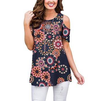 Women Floral Printed Shoulder down t shirts- Stylish Top Crops-Customized Top Crop