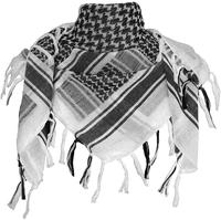 100% Cotton Shemagh Arab Scarf Wrap Black on White