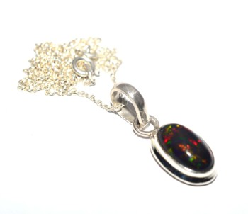 Natural black ethiopian opal silver Fashion chain pendant design 925 sterling silver opal jewelry gemstone necklace