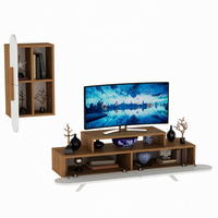 Best Design Living Room Wooden Television Unit White Walnut Best Quality TV Unit