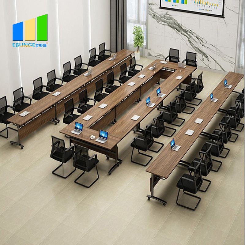 Adjustable Meeting Training Room Table Stackable Wooden Conference Folding Desk Foldable Table