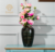 Hot selling handmade polished black ceramic decoration flower vase