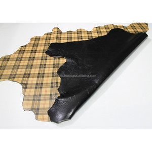 PLAID & BLACK Double Face print leather Lamb Skin Napa Soft Leather Finest Quality Wholesale Sheep Hide Leather