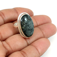 Solid 925 sterling silver ring natural black coral gemstone ring oval cabochon statement ring