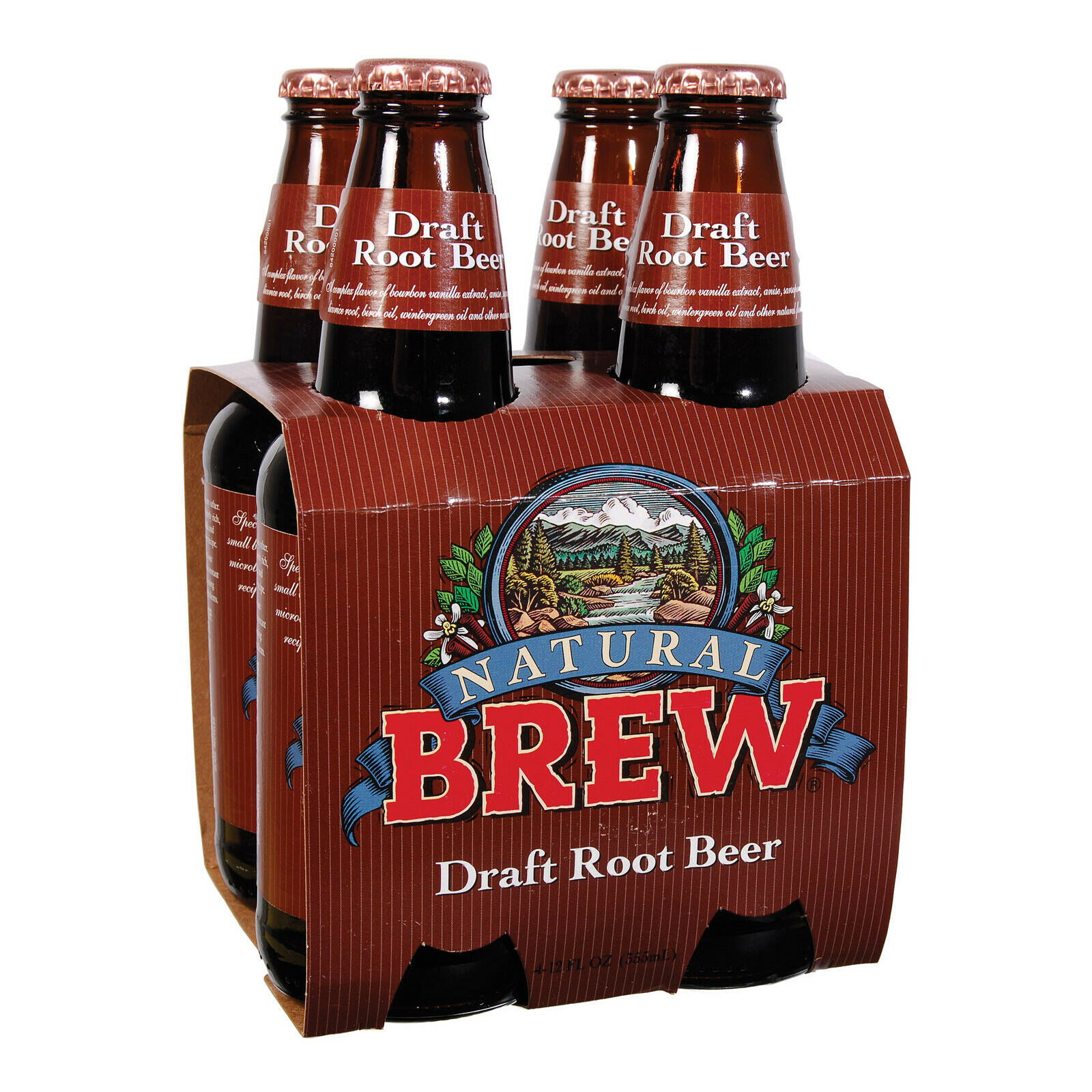 NATURAL BREW: Soda Root Beer 4 Pack (12oz each), 48 oz