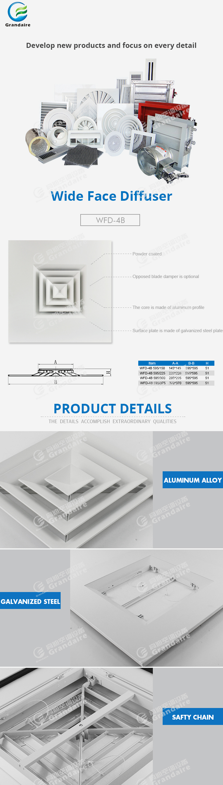 Steel frame 4 way air diffuser made in china