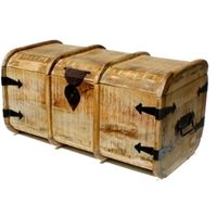 wooden antique iron fitting multi utility rustic finish blanket/storage box