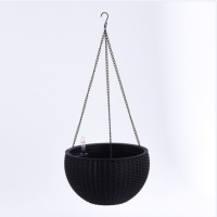 Wholesale modern indoor outdoor wicker rattan self watering plastic hanging basket plant pots flower pot hanging planter