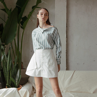 New 2019 Arrival Special Design White Mint Stripes Chemise Women Shirt Best Price