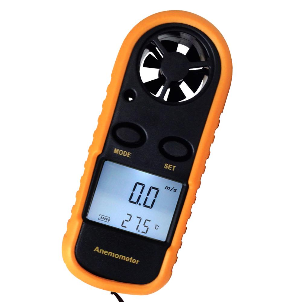 2-in-1 Digital Handheld Meter Mini Anemometer Speed <strong>Temperature</strong> Meter/ Bar Graph Thermometer Air Wind Flow Tester