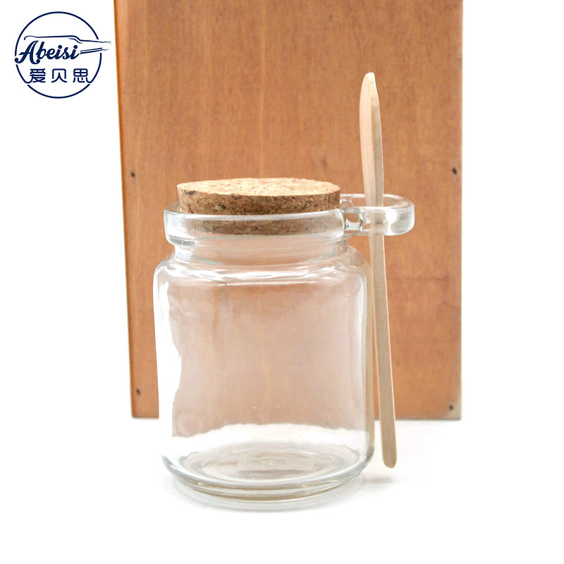 Premium 8oz Reusable Chefs Glass Spice / Salt Jar with Wooden Spoon