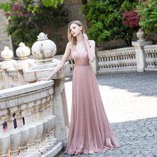 Сексуальные элегантные коктейльные платья 2020 цвета шампанского, длинное платье из крепа со складками, красное платье с ковром, Vestido De Festa(Китай)