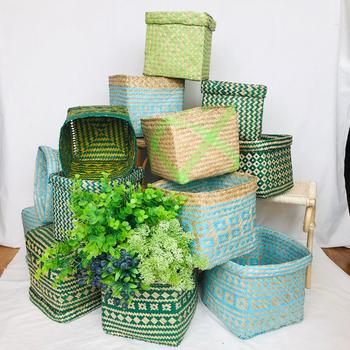Colorful woven planter basket