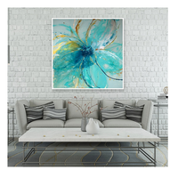 Blue Flower Modern Abstract Printed Art Painting on Alu (Model number: DES79-80x80)