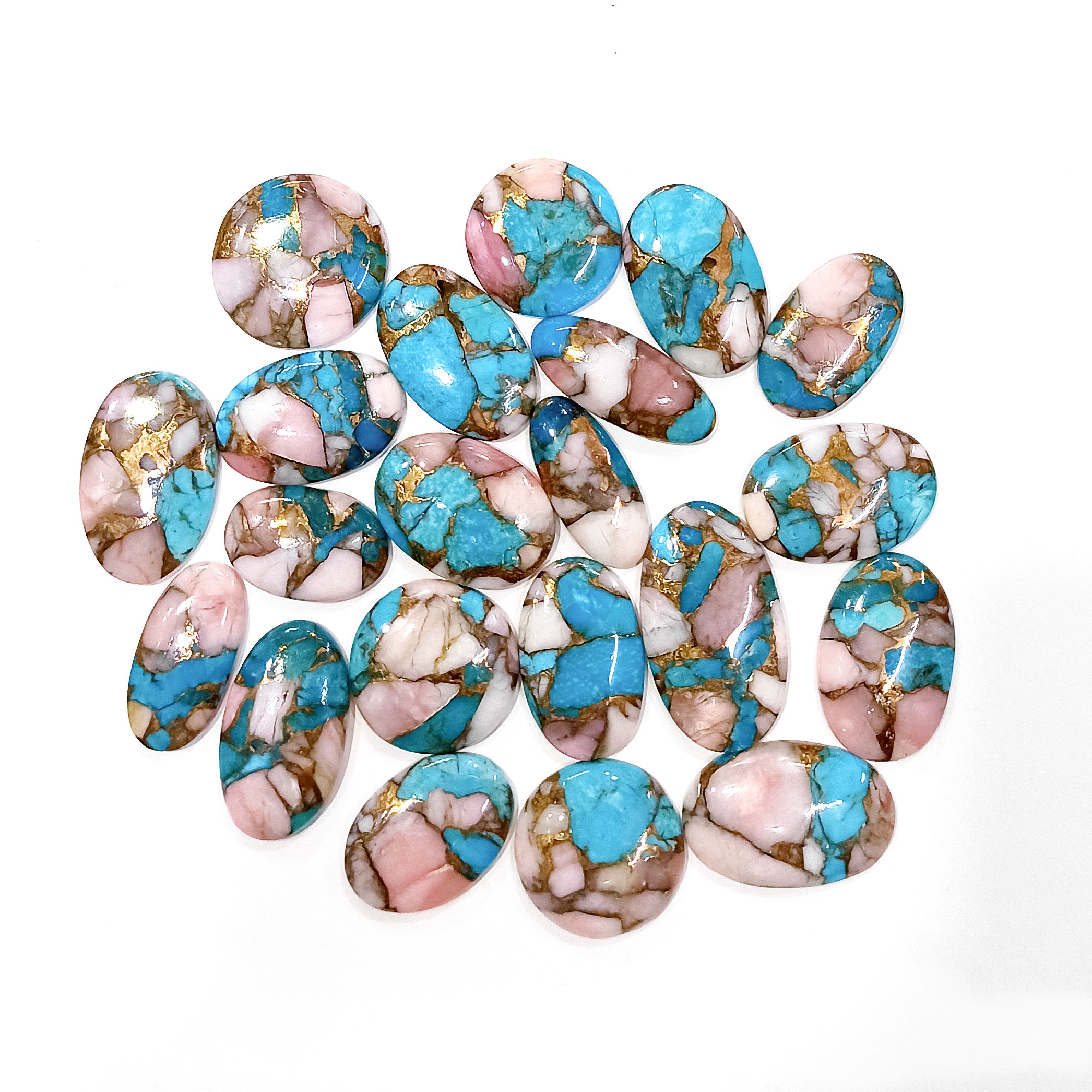 Details about  /8X10 MM PINK OPAL MOHAVE COPPER TURQUOISE LOOSE GEMSTONE WHOLESALE LOT 10 PCS