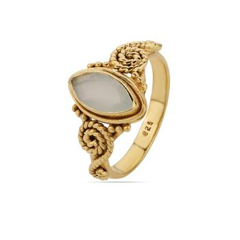 Aqua Chalcedony Gold Everyday Gemstone 925 Silver Rings