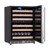 "50 Bottle 24"" Dual Zone Wine Cooler with Glass Door 