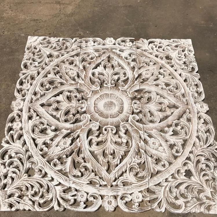 Wood Carved Panel Lotus Carving