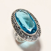 Oval Shape Indian Design With Blue Crystal Gemstone Silver Color Brass Ring With Natural Brass Material Stone Ring