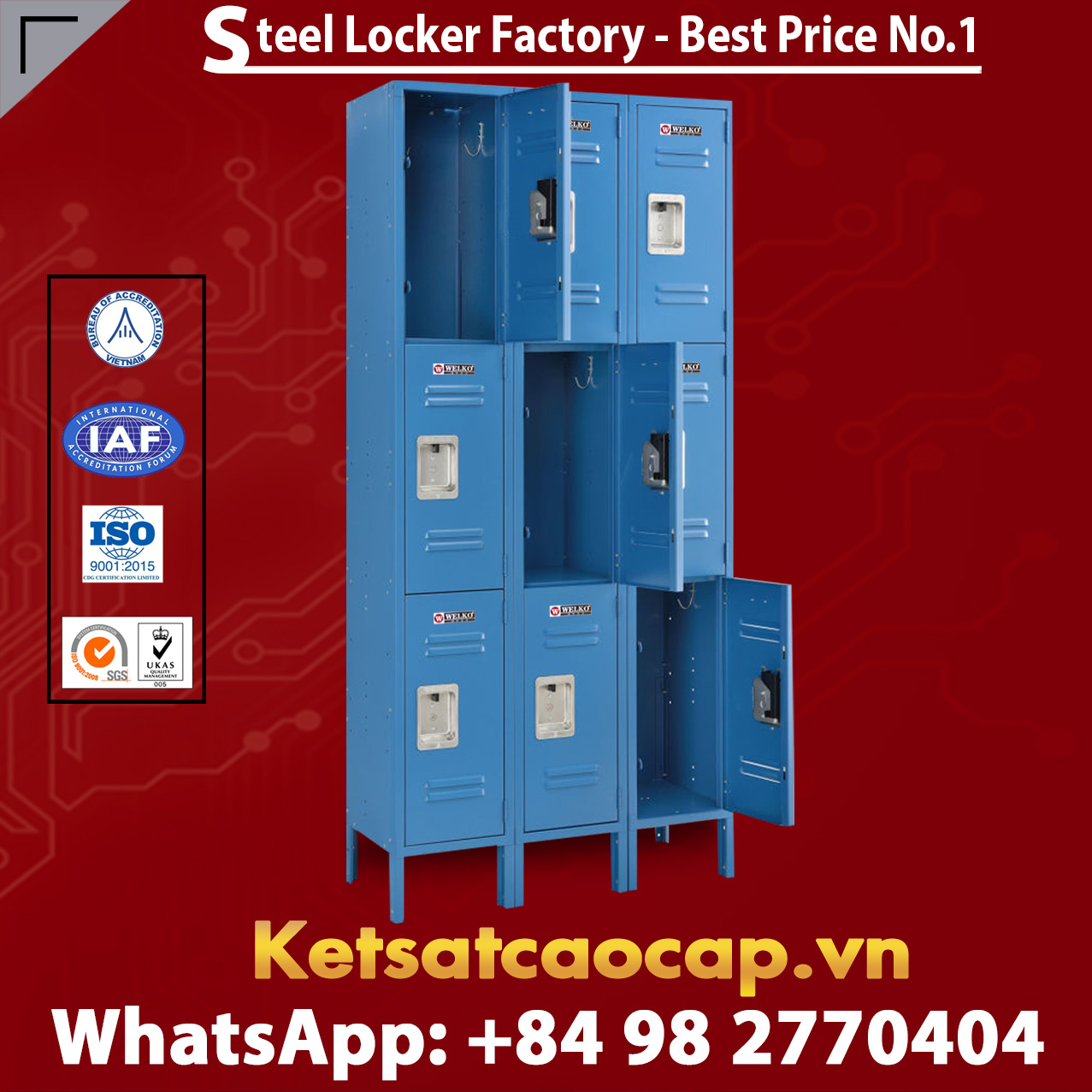 Steel Locker 3 Tier 12 x 15 x 24 9 Door Ready To Assemble Blue